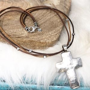 Silpada Large Hammered Cross & Leather Necklace